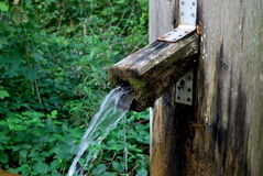 Water dispenser. A wooden water dispenser with plants in the background Royalty Free Stock Image