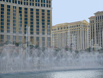 Water display at Casino in Las Vegas in Nevada USA. Las Vegas (English: The Meadows) was named by Spaniards in the Antonio Armijo party, who used the water in Stock Photo