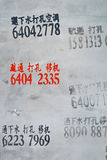 Chinese Readings. Water distribution readings on a wall in Beijing, China Royalty Free Stock Image