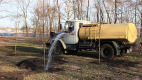 Water distribution vehicle stock video