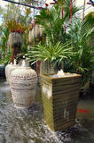 Water ditch with terracotta pots royalty free stock photos