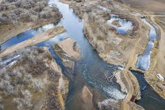 Water diversion in Colorado. Water diversion on SOuth Platte River in Colorado, aerial view royalty free stock photo