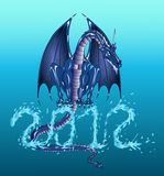 Water dragon 2012. Water dragon year 2012 from chinese astrology Royalty Free Illustration