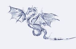 Water Dragon. A blue flying dragon made of water stock image