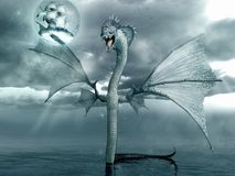 Water dragon and ship Stock Image