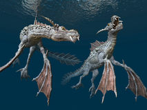 Water Dragons. Computer generated 3D illustration with Water Dragons Stock Photography