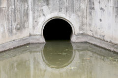 Water Drain,Drain flow into the canal. Royalty Free Stock Photography