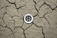 Water drain in dry soil Stock Photography