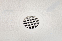 Water drain in the shower Royalty Free Stock Images