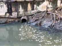Water drain via drainpipe into canal Stock Image