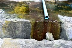Water. Drainage household, with dirty Royalty Free Stock Images