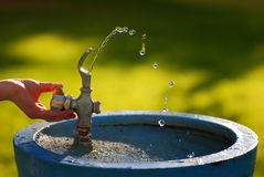 Water Drinking Fountain in Park on Summer Day Stock Image