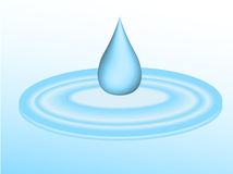 Water drip in puddle. 3d droplet of water falling into puddle - vector Royalty Free Stock Photos