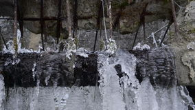 Water dripping from the ice caps stock footage