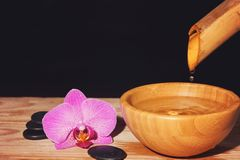 Water drips from the bamboo in a bowl on a wooden table, next to the spa treatment stones and orchid flower, copy space for your t. Ext stock photos