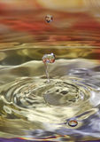 Water drop. A water drop, falling to a color water surface Royalty Free Stock Photography