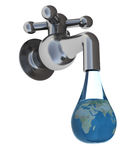 Water drop. Abstract 3d illustration of faucet and water drop with earth globe inside Royalty Free Stock Photography