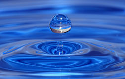 Water drop. A blue water drop in photos