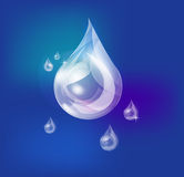 Water drop. One big and five small and middle drops of soap  water Royalty Free Stock Photos