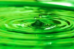 Water drop. Two green water drops Royalty Free Stock Photos