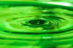 Water drop. Green water drop with a hole Stock Photos
