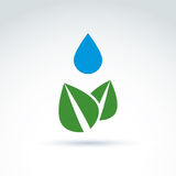 Water drop above leaves icon, floral life, ecology, vector conce Stock Images