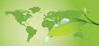 Water Drop And World Map Royalty Free Stock Images
