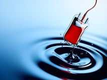 Water Drop Blending Into a Blood Bag. 3D Rendering Royalty Free Illustration
