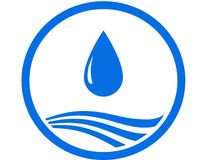 Water drop and blue wave. Sign with water drop and blue abstract wave Royalty Free Stock Photos