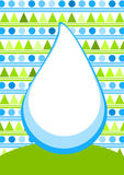 Water drop card with pine trees Stock Photo