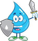 Water Drop Cartoon Mascot Guarder With Shield And Sword. Happy Water Drop Cartoon Mascot Guarder With Shield And Sword Royalty Free Stock Photography