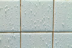 Water drop on ceramic tile wall  background.  Stock Images