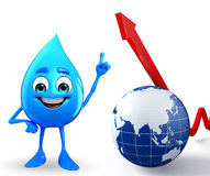 Water Drop Character with Arrow Stock Photography