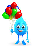 Water Drop Character with Balloon Stock Image