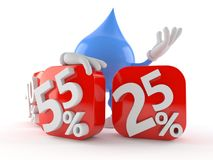 Water drop character behind percentage signs Royalty Free Stock Photo