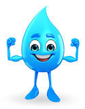 Water Drop Character is bodybuilding Royalty Free Stock Photos