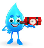 Water Drop Character with Bomb Stock Images