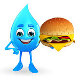 Water Drop Character with burger Royalty Free Stock Image