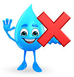 Water Drop Character with cross sign Stock Photography
