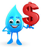 Water Drop Character with dollar sign Stock Photography