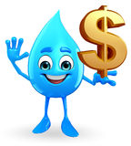 Water Drop Character with dollar sign Stock Photos