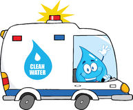 Water Drop Character Driving Clean Water Van Stock Photos