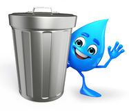 Water Drop Character with dustbin Stock Images