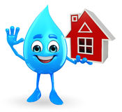 Water Drop Character with home Royalty Free Stock Photography