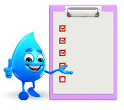 Water Drop Character with notepad Royalty Free Stock Photo