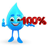Water Drop Character with Percentage Stock Image
