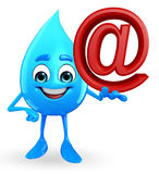 Water Drop Character with at the rate sign Stock Image