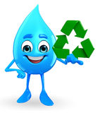 Water Drop Character with recycle icon Stock Photo