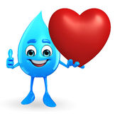 Water Drop Character with red heart Stock Image