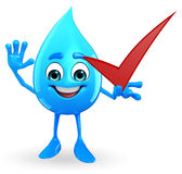 Water Drop Character with right sign Stock Photography